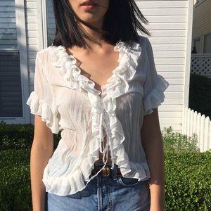 White summer ruffle top